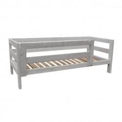 Letto in legno di abete con testata, pediera, sponda laterale, sponda antiribaltamento lunga, compreso di doghe in betulla