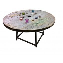 officina del riuso, tavolo in legno e ferro