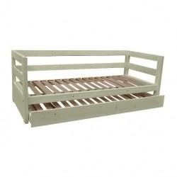Letto in legno di abete con testata, pediera, sponda laterale, secondo letto estraibile, compreso di doghe in betulla