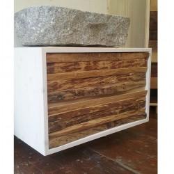 mobile bagno con cassettoni, rovere cortek, lavabo in blocco di granito