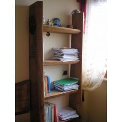 Libreria in tavoloni di quercia non refilata