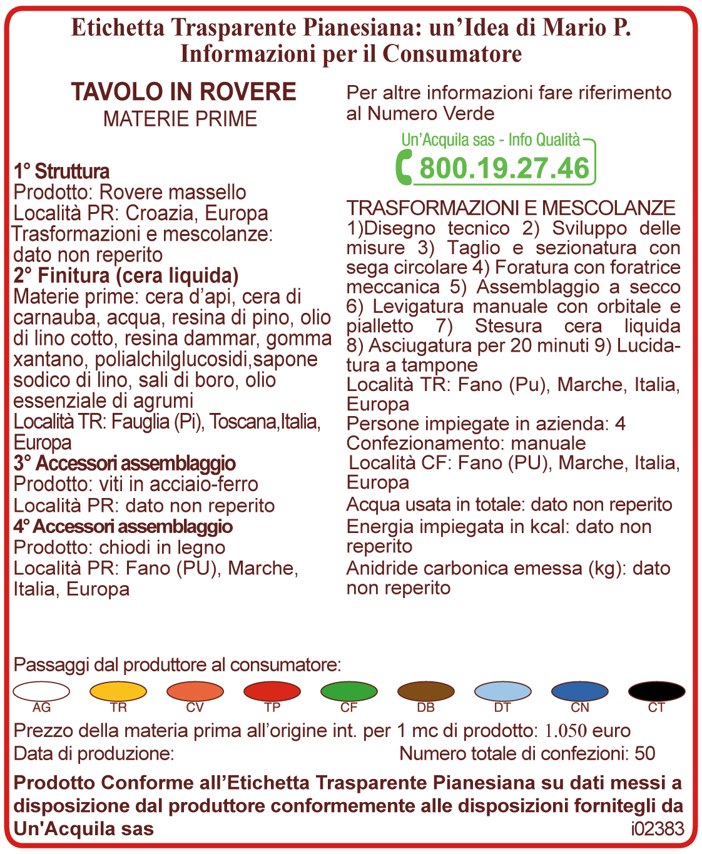 Etichetta 2017 Tavolo in rovere  Una Tar